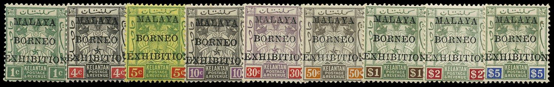 MALAYA - KELANTAN 1922  SG30/38 Mint Malaya-Borneo Exhibition set to $5