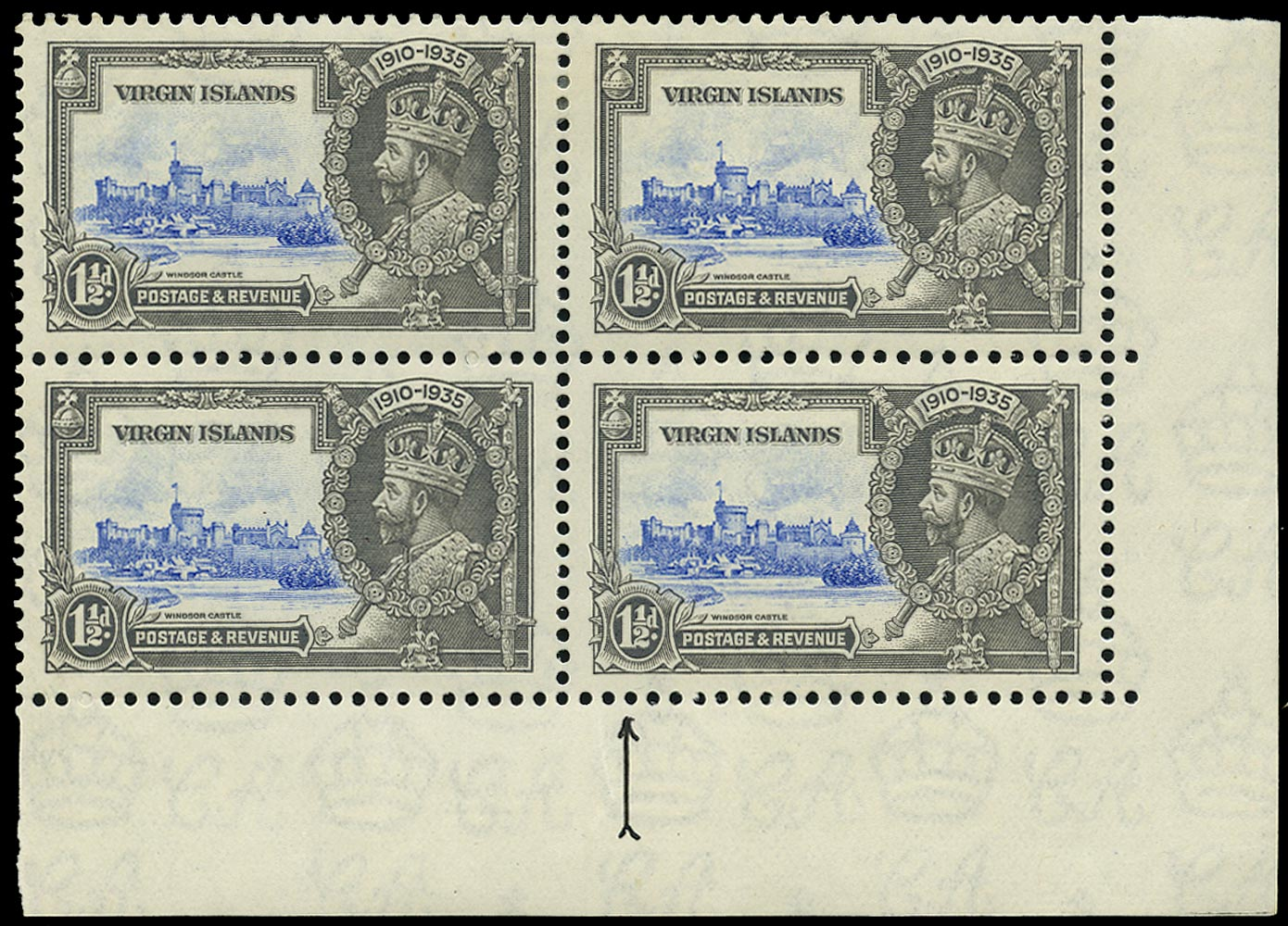 VIRGIN ISLANDS 1935  SG104l Mint Silver Jubilee 1½d ultramarine and grey variety Kite and horizontal log