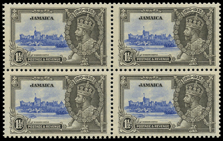 JAMAICA 1935  SG115a Mint Silver Jubilee 1½d ultramarine and grey-black variety Extra flagstaff