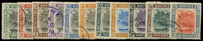 BRUNEI 1907  SG23/33 Used set of 11 to $1 watermark MCA