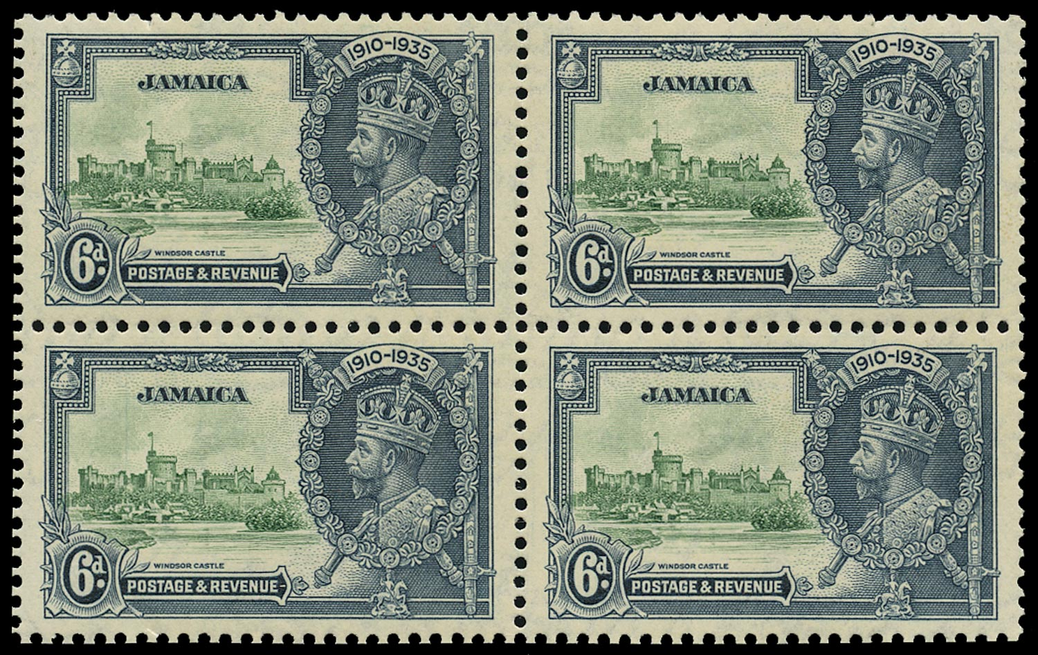 JAMAICA 1935  SG116a Mint Silver Jubilee 6d green and indigo variety Extra flagstaff