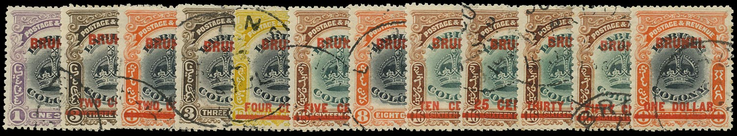 BRUNEI 1906  SG11/22 Used Crown set of 12 to $1
