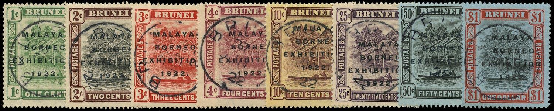 BRUNEI 1922  SG51c/59 Used Malaya-Borneo Exhibition set to $1 with varieties