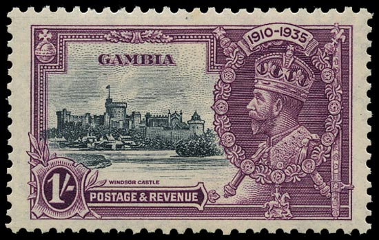 GAMBIA 1935  SG146b Mint Silver Jubilee 1s slate and purple variety Short extra flagstaff