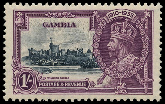 GAMBIA 1935  SG146c Mint Silver Jubilee 1s slate and purple variety Lightning conductor