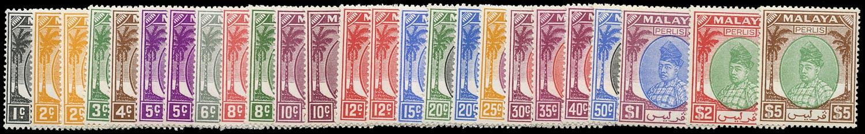 MALAYA - PERLIS 1951  SG7/27 Mint unmounted set of 21 plus shades