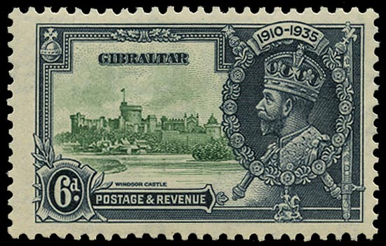 GIBRALTAR 1935  SG116c Mint Silver Jubilee 6d green and indigo variety Lightning conductor