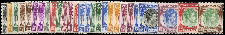 MALAYA - PENANG 1949  SG3/22 Mint unmounted set of 20 plus shades