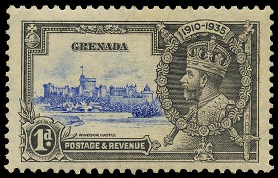 GRENADA 1935  SG146l Mint Silver Jubilee 1d ultramarine and grey variety Kite and horizontal log