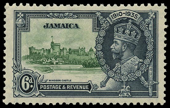 JAMAICA 1935  SG116c Mint Silver Jubilee 6d green and indigo variety Lightning conductor