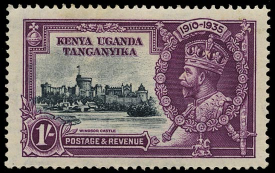 KUT 1935  SG127l Mint Silver Jubilee 1s slate and purple variety Line through 0 of 1910