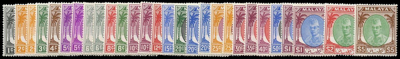 MALAYA - KELANTAN 1951  SG61/81 Mint unmounted set of 21 plus shades