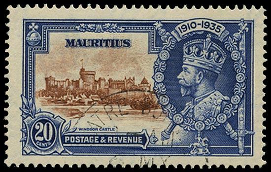MAURITIUS 1935  SG247g Used Silver Jubilee 20c brown and deep blue variety Dot to left of chapel