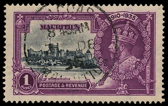 MAURITIUS 1935  SG248h Used Silver Jubilee 1s slate and purple variety Dot by flagstaff