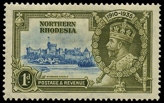 NORTHERN RHODESIA 1935  SG18g Mint Silver Jubilee 1d light blue and olive-green variety Dot to left of chapel