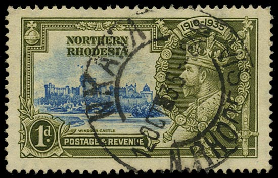 NORTHERN RHODESIA 1935  SG18h Used Silver Jubilee 1d light blue and olive-green variety Dot by flagstaff