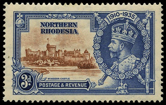 NORTHERN RHODESIA 1935  SG20g Mint Silver Jubilee 3d brown and deep blue variety Dot to left of chapel