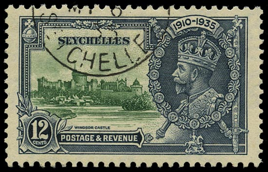 SEYCHELLES 1935  SG129d Used Silver Jubilee 12 green and indigo variety Flagstaff on right-hand turret