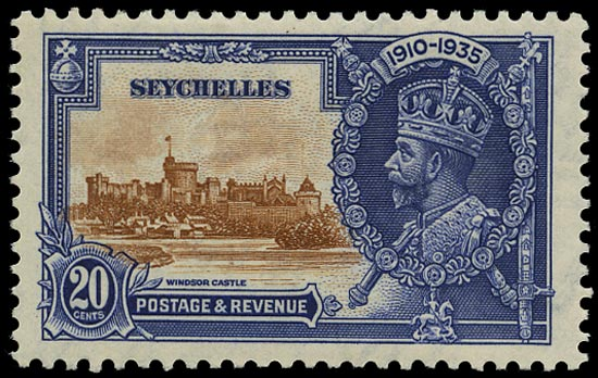 SEYCHELLES 1935  SG130d Mint Silver Jubilee 20c brown and deep blue variety Flagstaff on right-hand turret