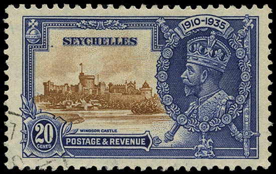 SEYCHELLES 1935  SG130a Used Silver Jubilee 20c brown and deep blue variety Extra flagstaff