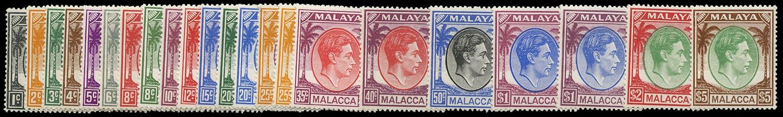 MALAYA - MALACCA 1949  SG3/17 Mint unmounted set of 20 plus shades