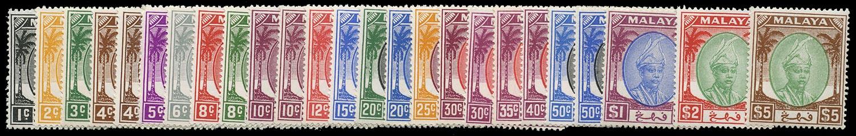 MALAYA - PAHANG 1950  SG53/73 Mint unmounted set of 21 plus shades