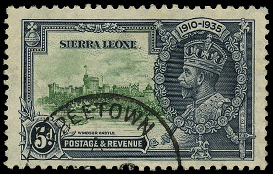 SIERRA LEONE 1935  SG183a Used Silver Jubilee 5d green and indigo variety Extra flagstaff