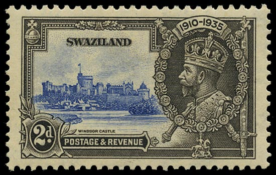 SWAZILAND 1935  SG22c Mint Silver Jubilee 2d ultramarine and black variety Lightning conductor