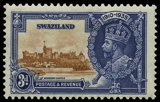 SWAZILAND 1935  SG23b Mint Silver Jubilee 3d brown and deep blue variety Short extra flagstaff