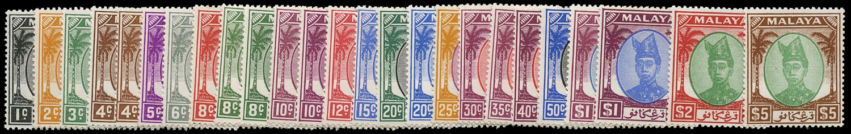 MALAYA - TRENGGANU 1949  SG67/87 Mint unmounted set of 21 plus shades