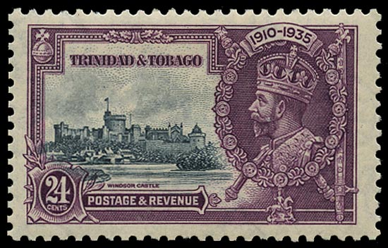 TRINIDAD & TOBAGO 1935  SG242a Mint Silver Jubilee 24c slate and purple variety Extra flagstaff