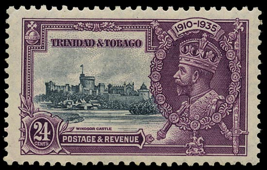 TRINIDAD & TOBAGO 1935  SG242c Mint Silver Jubilee 24c slate and purple variety Lightning conductor