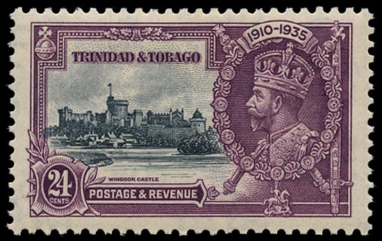 TRINIDAD & TOBAGO 1935  SG242e Mint Silver Jubilee 24c slate and purple variety Double flagstaff