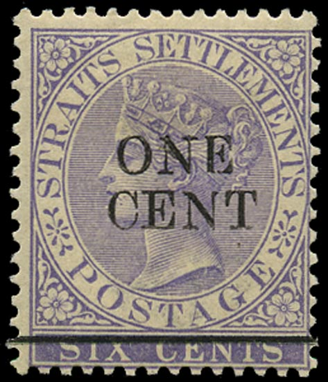 MALAYA - STRAITS 1892  SG90w Mint ONE CENT on 6c lilac variety watermark inverted