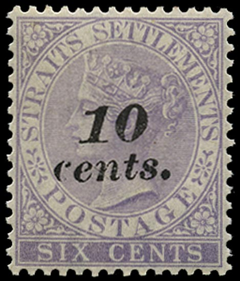 MALAYA - STRAITS 1880  SG44 Mint 10c on 6c lilac heavier overprint from second printing