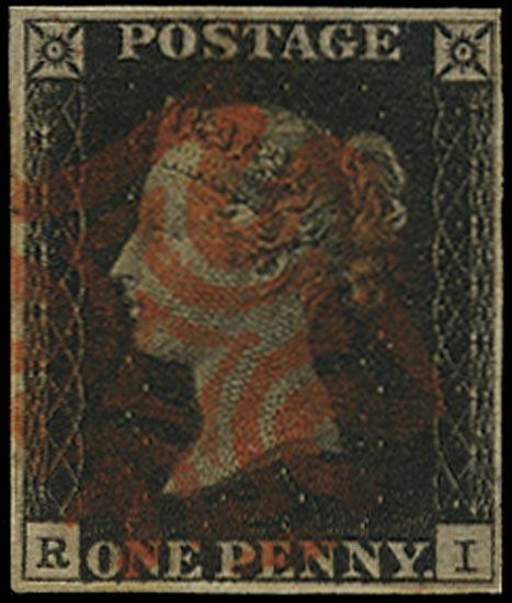 GB 1840  SG2 Pl.1b Penny Black VFU red MC (RI)