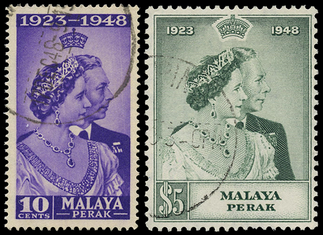 MALAYA - PERAK 1948  SG122/23 Used Royal Silver Wedding 10c and $5