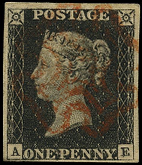 GB 1840  SG2 Pl.3 Penny Black VFU red MC (AE)