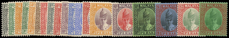 MALAYA - PERAK 1938  SG103/21 Mint set of 19 to $5