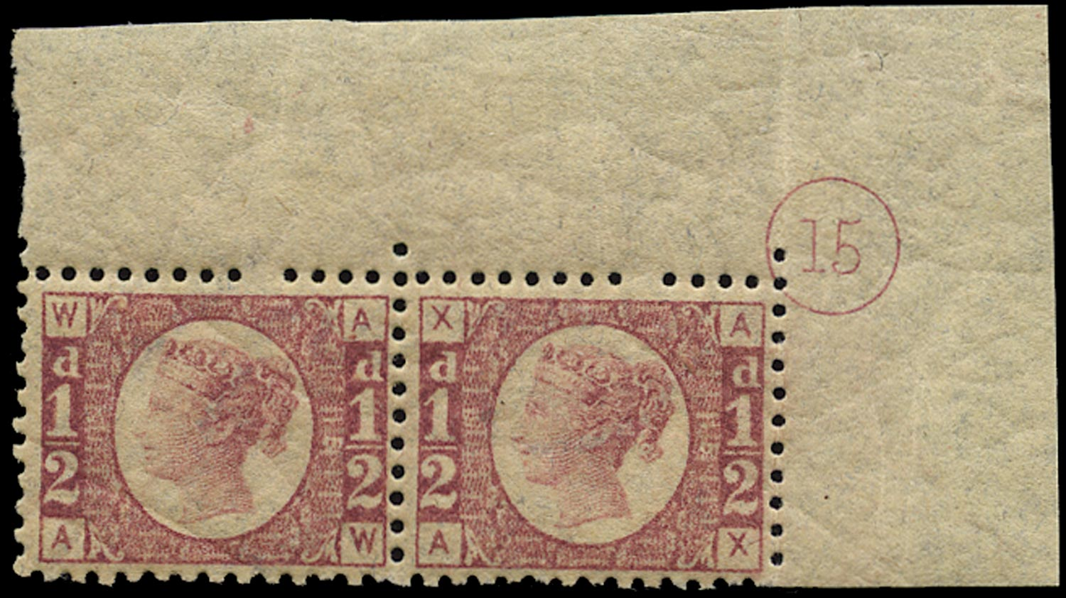 GB 1878  SG48 Pl.15 Mint Marginal pair with plate number