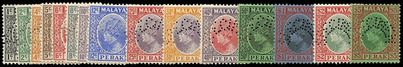 MALAYA - PERAK 1935  SG88s/102s Specimen set of 15 to $5