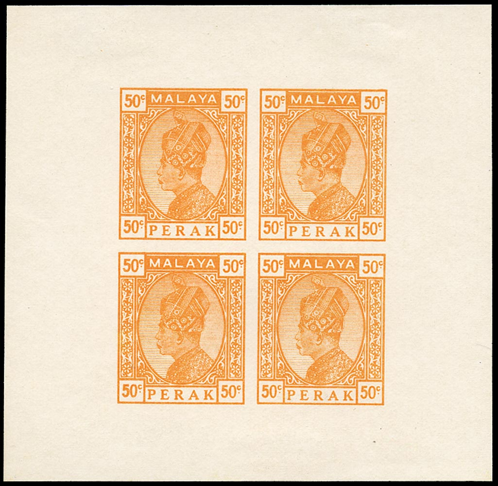 MALAYA - PERAK 1933  SG88/102 Essay 50c orange Survey Department