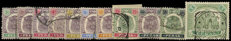 MALAYA - PERAK 1895  SG66/76 Used set of 11 to $1