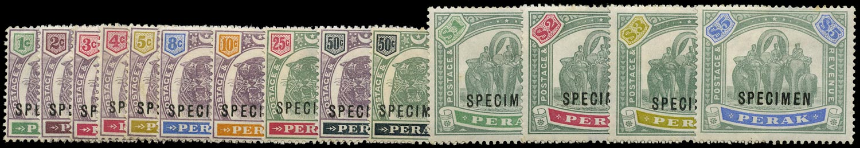 MALAYA - PERAK 1895  SG66s/79s Specimen Tiger and Elephants set of 14 to $5