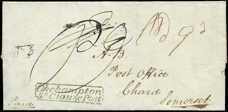 GB 1827 Pre-Stamp - OKEHAMPTON/5''-Cl.POST