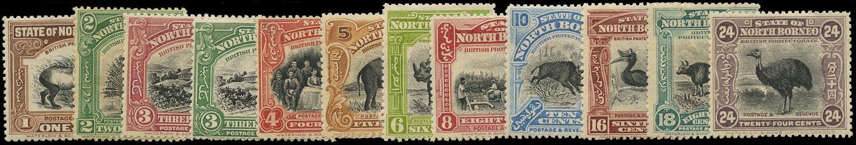NORTH BORNEO 1909  SG158/76 btwn Mint set to 24c less 12c