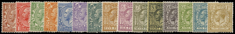 GB 1912  SG351/96 Mint U/M o.g. set of fifteen