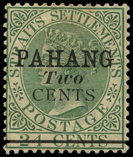 MALAYA - PAHANG 1891  SG7 Mint 2c on 24c green type 5 surcharge