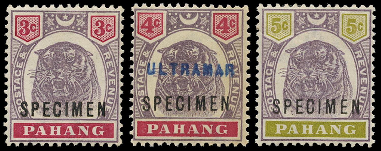 MALAYA - PAHANG 1895  SG14s/16s Specimen 4c with additional ULTRAMAR handstamp