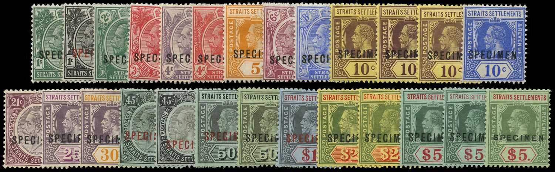 MALAYA - STRAITS 1912  SG193s/212ds Specimen watermark MCA set of 19 plus additional printings